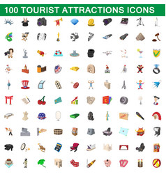 100 tourist attractions icons set cartoon style vector image
