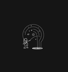 Aastronaut with a spinning rod catching fish vector
