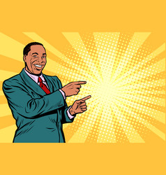 african businessman pointing finger at the side vector image