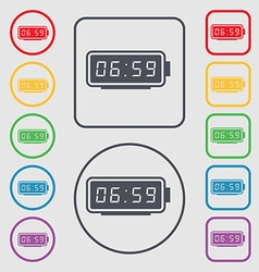 alarm clock icon sign symbol on the Round and vector image