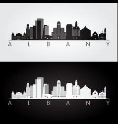 Albany usa skyline and landmarks silhouette vector