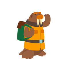 Alrus travelling with backpack cute cartoon vector