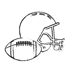 american football helmet ball sport equipment vector image