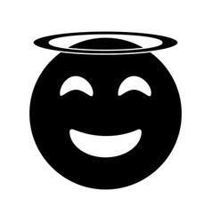 Angel emoticon style pictogram vector