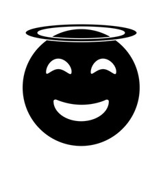 angel emoticon style pictogram vector image