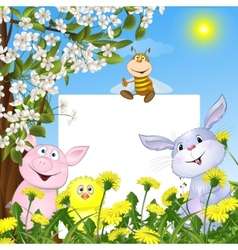 animals with the poster against flowers and a vector image