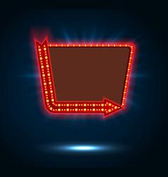 Arrow and billboard sign shining blue light vector