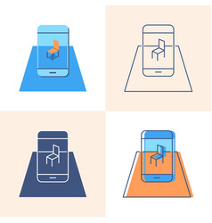 augmented reality concept icon set in flat and vector image