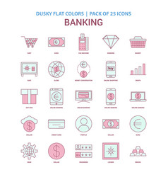 banking icon dusky flat color - vintage 25 icon vector image