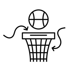 basket ball line icon concept sign outline vector image