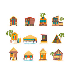 Beach houses funny buildings for summer vacation vector
