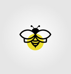 bee logo line art in black color vintage design vector image