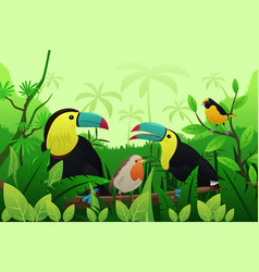birds resting on branches of tree vector image