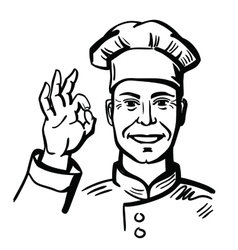 black happy chef vector image