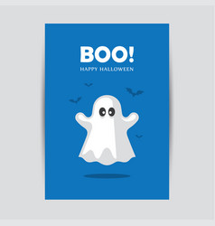 Blue halloween greeting card with ghost vector