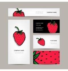 Business cards collection strawberry design vector image