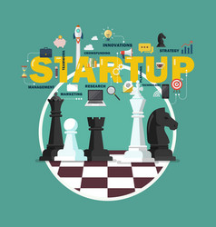 business startup strategy concept with chess vector image