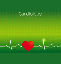 Cardiology green background vector