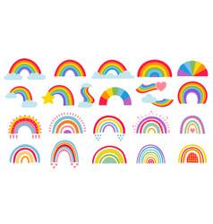 cartoon rainbow colourful rainbows heart vector image