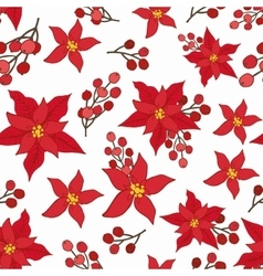 Christmas seamless patternred Poinsettiaberries vector image