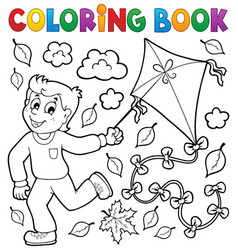 Coloring book with boy and kite vector