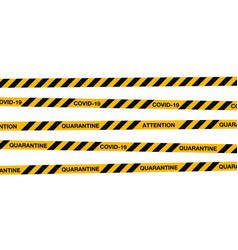 Covid-19 quarantine stripes tape warning sign vector