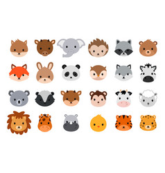 Cute animal heads collection flat style vector