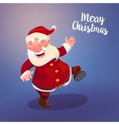 Cute Santa on vintage blue backdrop vector