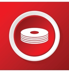 Disc pile icon on red vector image