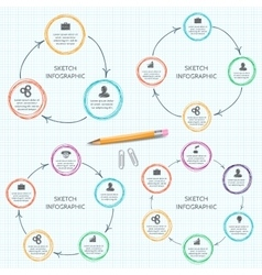 doodle circle elements for infographic vector image