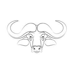 engraving stylized buffalo on white background vector image