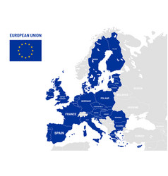 European union countries map eu member country vector