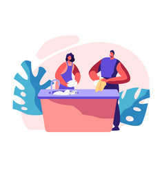 Family kitchen cleaning time housework vector