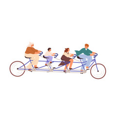 family with children riding long tandem bicycle vector image