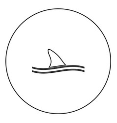 Fin of shark black icon in circle outline vector