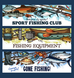fisherman sport fishing club sketch banners vector image