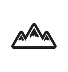 Flat icon in black and white style mountains vector image
