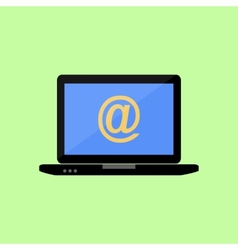 Flat style laptop with mail sign vector image vector image