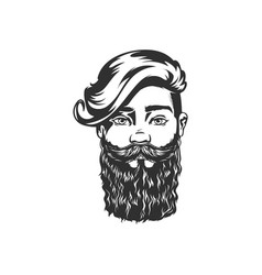 Gentleman stylish hairstyle and beard portrait vector
