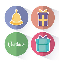 gift boxeswith set icons of christmas vector image