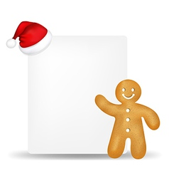 Gingerbread With Paper And Santa Hat vector image