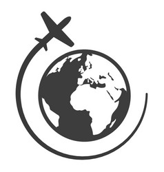 Globe with airplane black icon travel and vector
