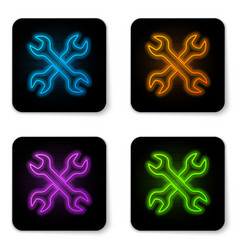 glowing neon crossed wrenchs icon isolated on vector image