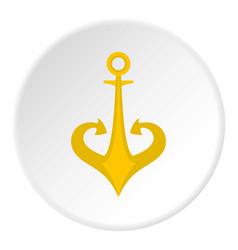 Gold anchor icon circle vector