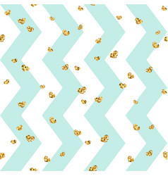 Gold heart seamless pattern blue-white geometric vector
