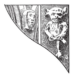 Gothic architecture ornament statue imp faces vector