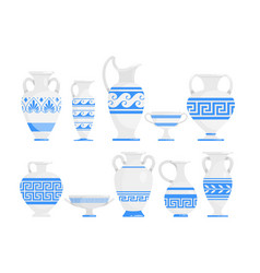 Greek vases blue and white flat vector