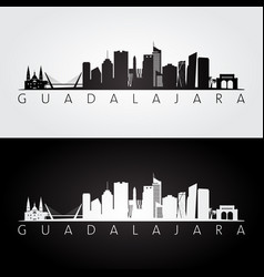 Guadalajara skyline and landmarks silhouette vector