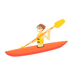 guy kayaking part of teenagers practicing extreme vector image