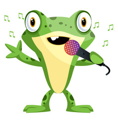 happy frog mascot singing on a microphone on vector image